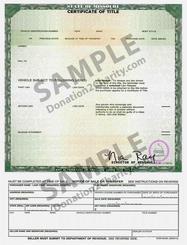 Missouri Form Page 1