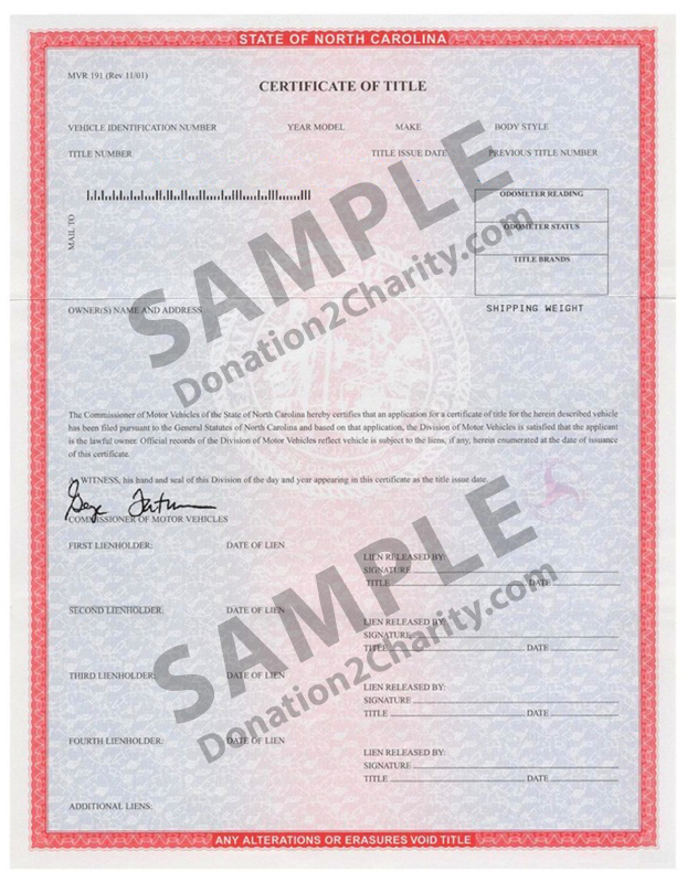 North Carolina Form Page 1