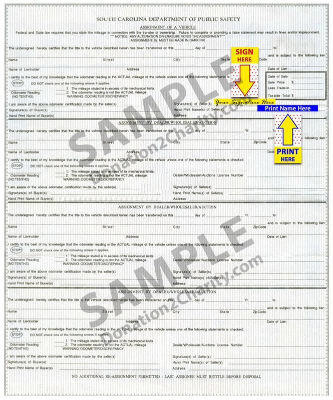 South Carolina Form Page 2
