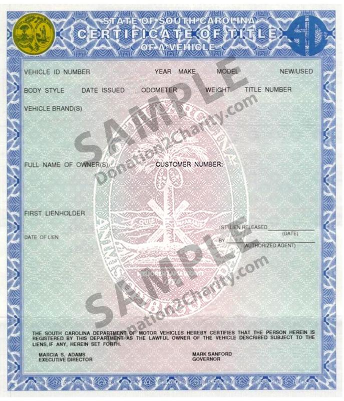 South Carolina Form Page 1
